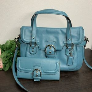 Coach f27231 Campbell leather small flap satchel
